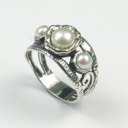 Inel argint perla R3681