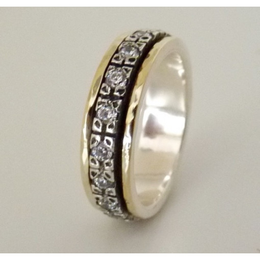 Inel argint si aur 14k cu zircon R4698