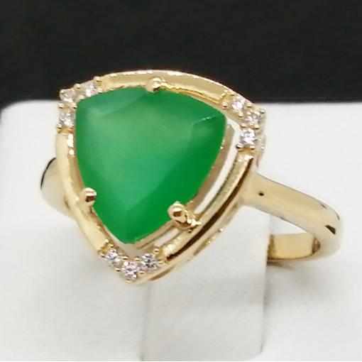 Inel Lille -argint placat cu aur --VR016161 onix verde