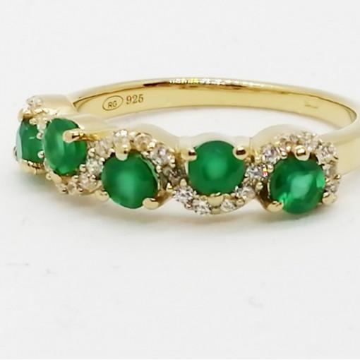 Inel NARCISA -argint placat si aur - onix verde- VR020711