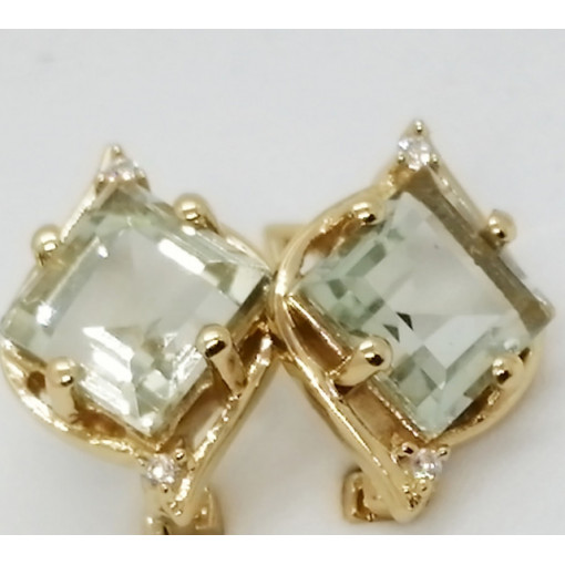 Liana -Cercei argint placat cu aur si ametist verde -VE019494