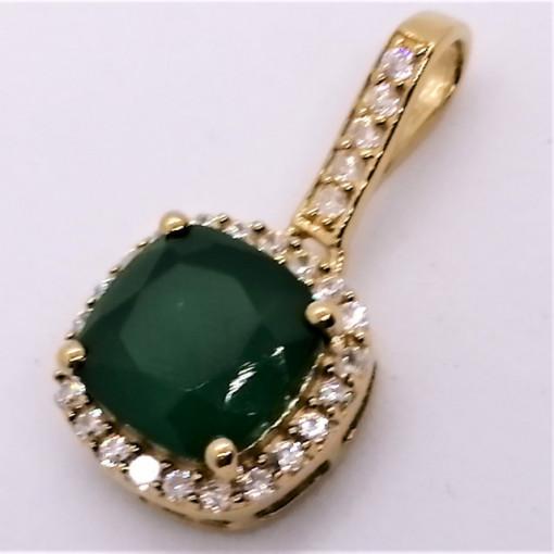 Pandantiv ALEX - argint placat cu aur -VP08175 onix verde