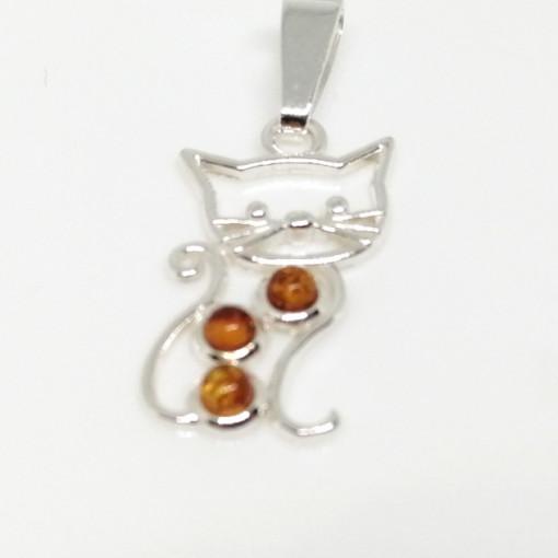 Pandantiv delicat argint chihlimbar P691- Pisicuta