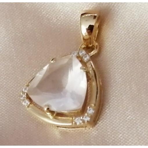 Pandantiv Medeea-argint placat cu aur galben - VP016161 cuart roz