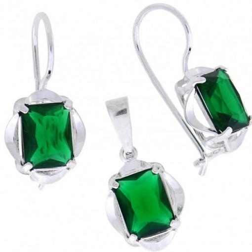 Set argint -green quartz -E3679-P3689
