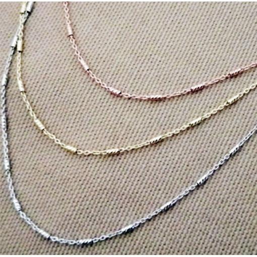 Triplu colier argint -in trei culori -placat cu aur -CTSS2778RT