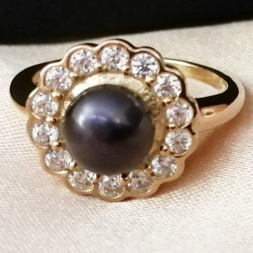 Vannes- Inel argint placat cu aur galben VR014557-perla neagra