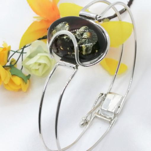 Bratara argint -chihlimbar verde B3098-A