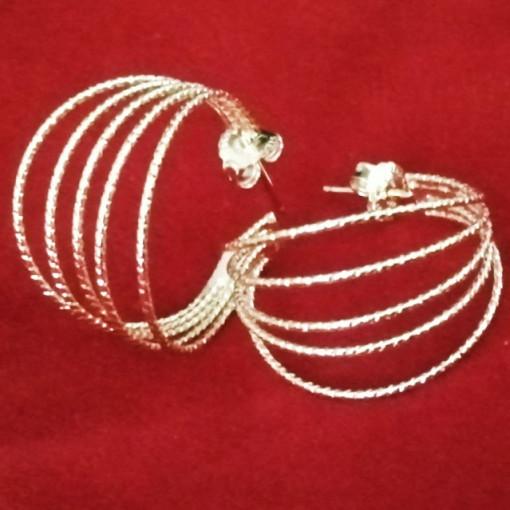 Cercei argint placati cu aur galben -tip semicreole -ORPV0021PL25G