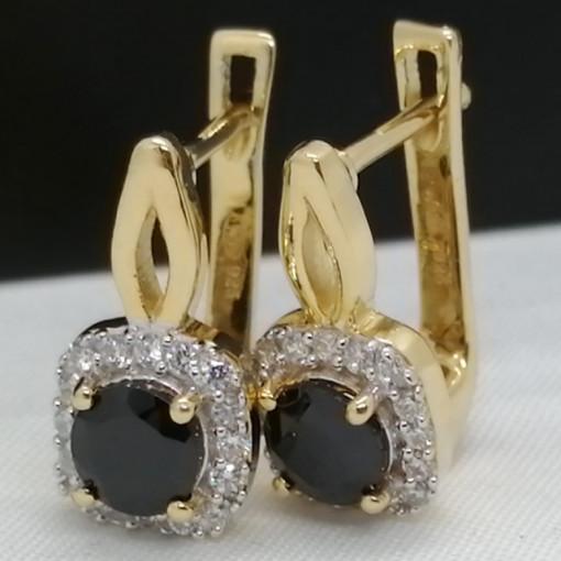 Cercei Nova -argint placat cu aur galben -VE011486 onix