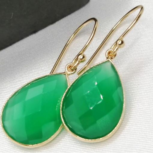 Cercei Ronda -argint placat cu aur VE017554 -onix verde
