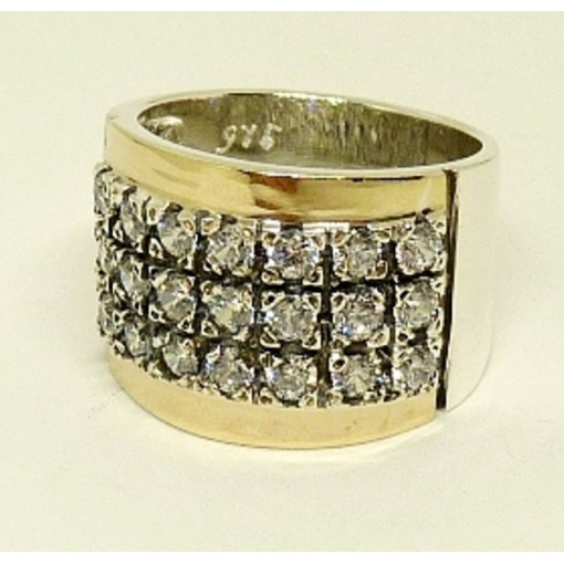Inel argint combinat cu aur 14K - zircon R600