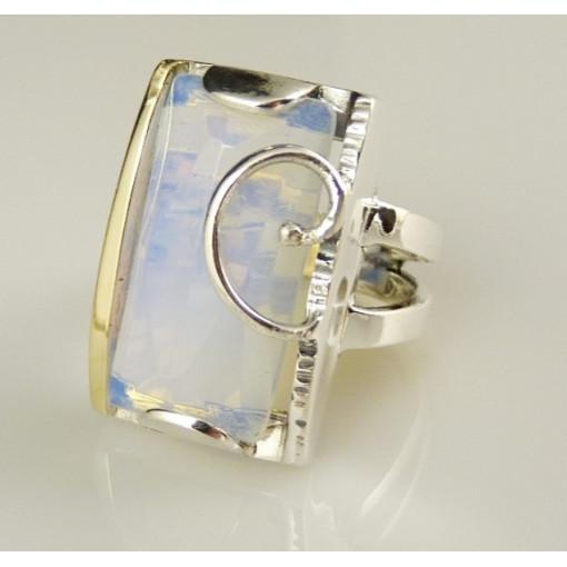 Inel argint si aur 14k -opalit-100688