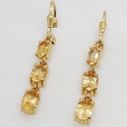 Lyon- cercei argint placati cu aur galben -VE030962 citrin