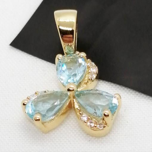 Pandantiv Iasmina-argint placat cu aur galben - VP013772 blue topaz
