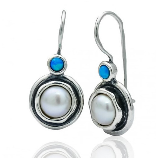Cercei argint -perla si opal E3777