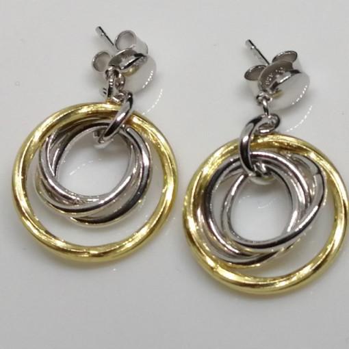 Cercei argint placatu cu aur galben -trei cercuri -ORST1299RBGIA