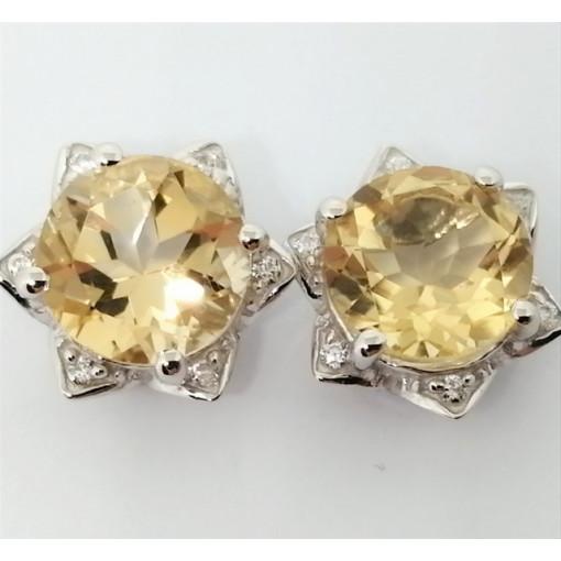 Cercei delicati din argint cu surub VE015767-citrin