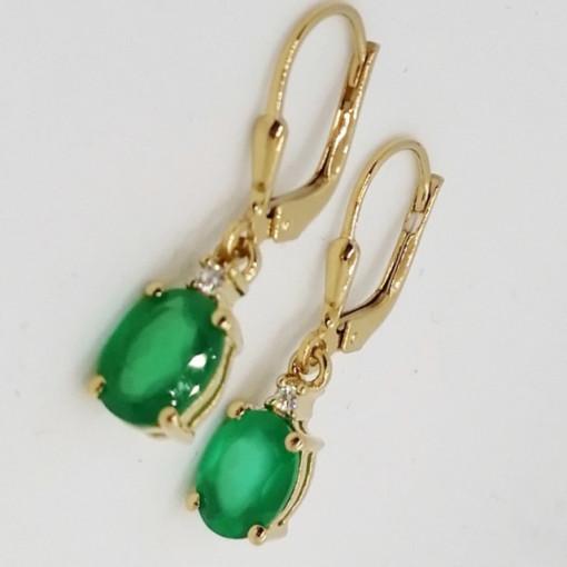 Cercei DORIS- argint placat cu aur -onix verde -VE016667