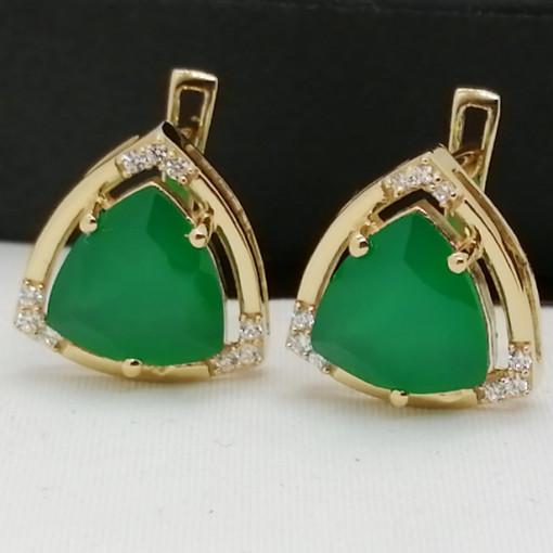 Cercei Oana-argint placat cu aur galben - VE016161 onix verde
