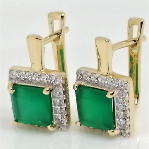 Cercei Suzane -argint placat cu aur si onix verde