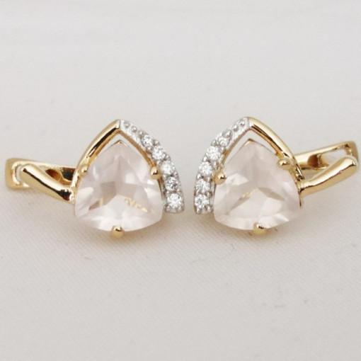 Cercei Tara -argint placat cu aur galben- VE032905-cuart roz