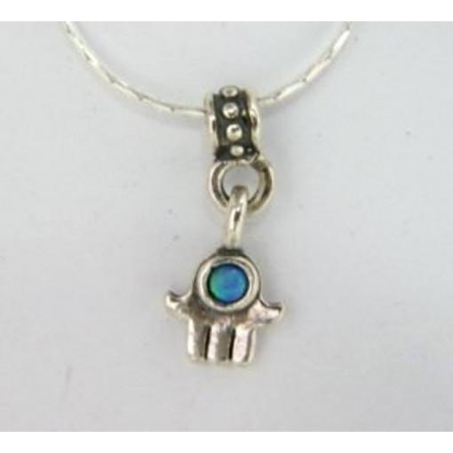Colier delicat din argint si OPAL -Hamsa-J00045