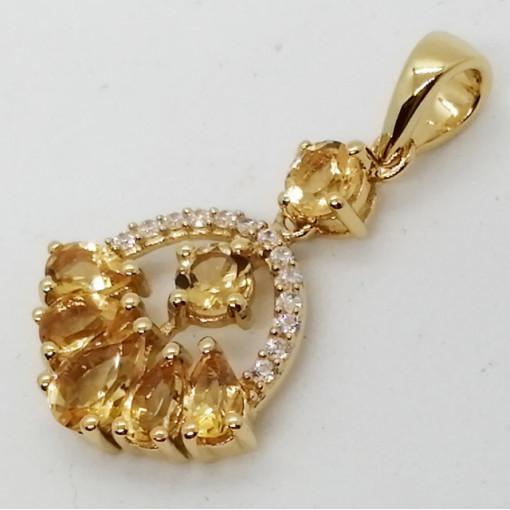 Dallas- Pandantiv argint placat cu aur galben -VP020118-citrin