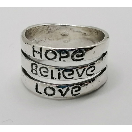 Inel argint cu mesaj HOPE-BELIEVE-LOVE R543