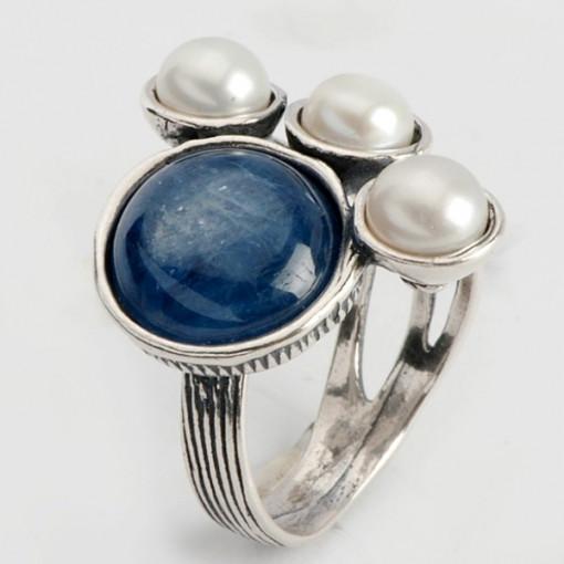 Inel argint Kyanit si Perla -R1219