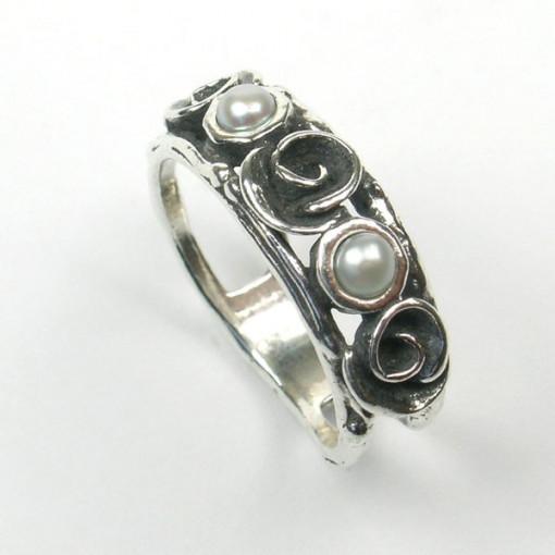 Inel argint perle - R4107