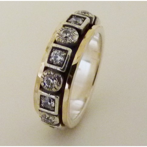 Inel argint si aur 14k cu zircon R4697