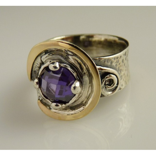 Inel argint si aur 9k -11452 ametist