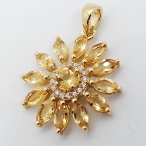 Miami- Pandantiv argint placat cu aur galben -VP17750-citrin