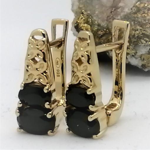 Cercei Adelina -argint placat cu aur si onix VE012644