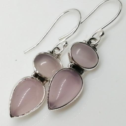 Cercei argint cuart roz- E308