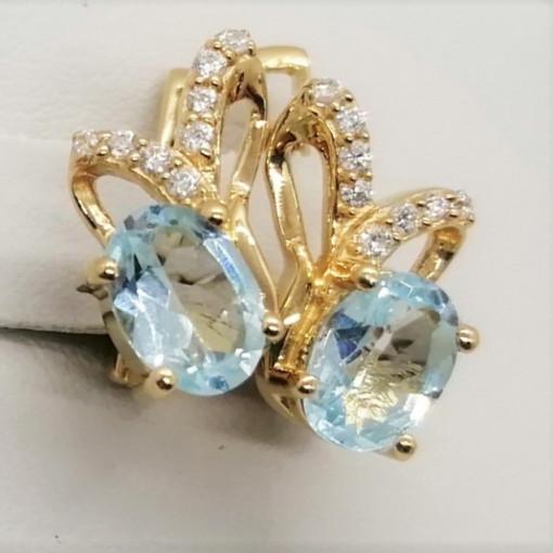 Cercei Floressa -argint placat cu aur si topaz VE033213