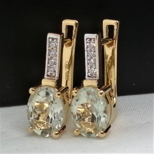 Cercei Maria -argint placat cu aur galben- VE015725-ametist verde