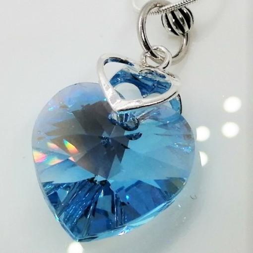 Colier TITANIC - argint cristal P0368-1481 Aquamarin