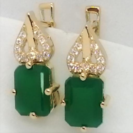 Cruella -Cercei argint placati cu aur galben -VE013917 Onix verde
