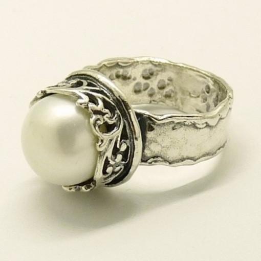 Inel argint perla R2822