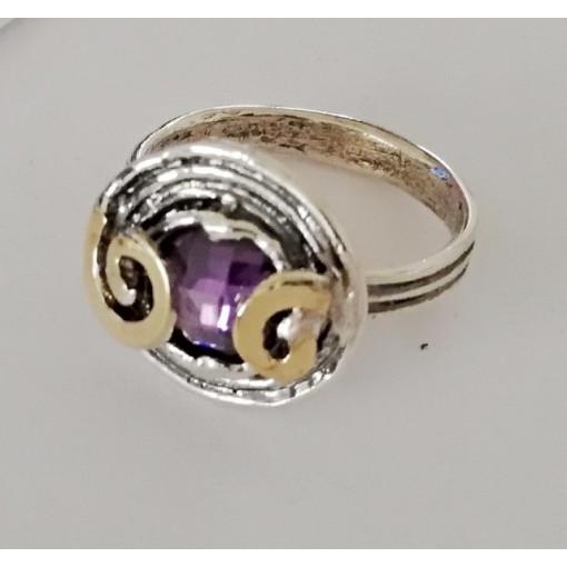 Inel argint si aur 9 k-11300 ametist