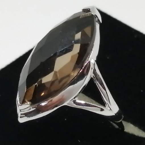 Inel argint VR012678- cuart fumuriu