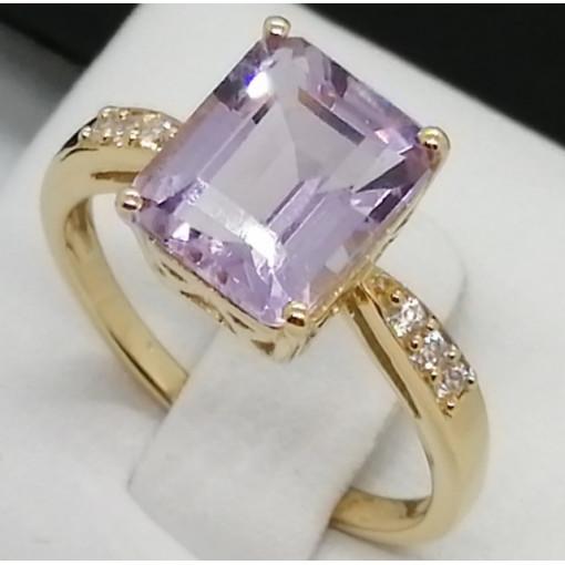 Inel OLGA -argint placat cu aur -VR018625- pink ametist
