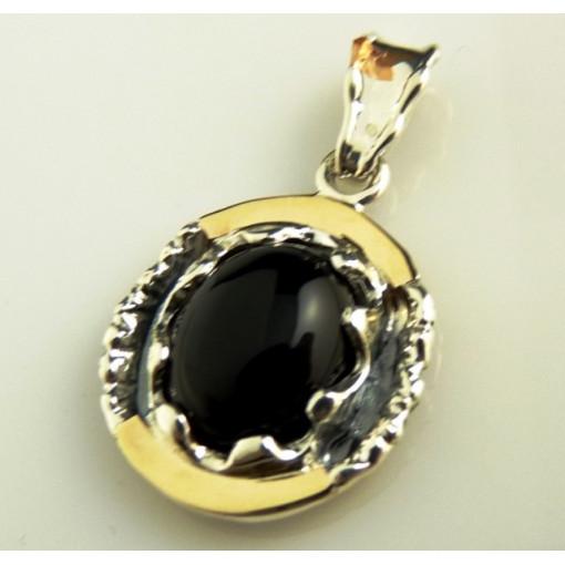 Pandantiv argint si aur 9 k -20636 onix