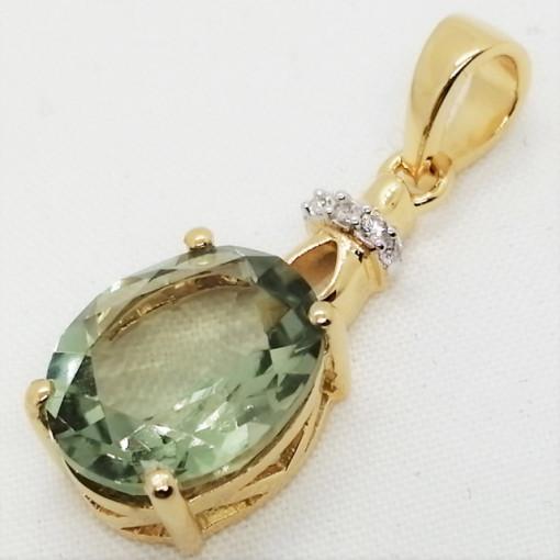 Pandantiv Crina -argint placat cu aur -VP014176 ametist verde