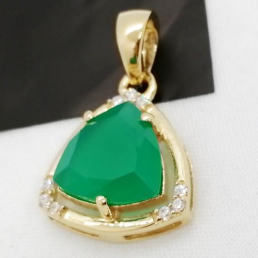 Pandantiv Medeea-argint placat cu aur galben - VP016161 onix verde