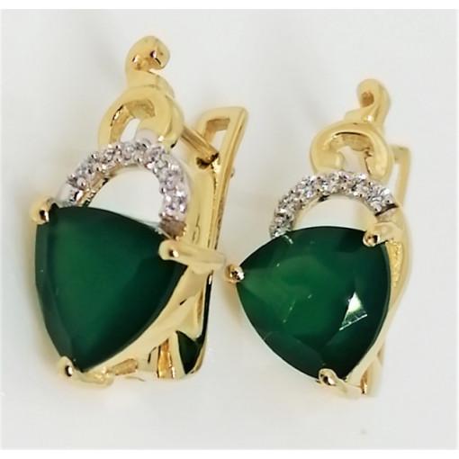 Alicia -Cercei argint placati cu aur VE027629 - onix verde