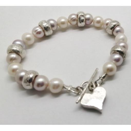 Bratara din argint masiva cu perle BP4