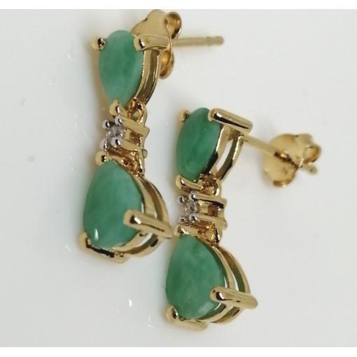 Cercei Alison -argint placat cu aur si emerald